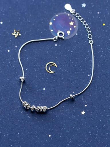 925 Sterling Silver Round Minimalist Charm Bracelet