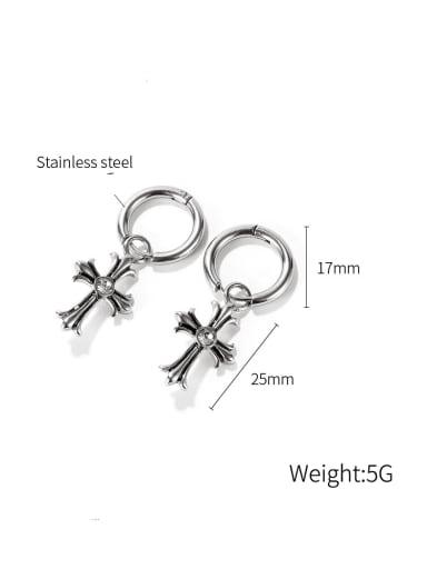 Titanium Steel Cross Hip Hop Huggie Earring