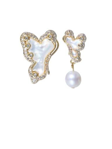 Brass Freshwater Pearl Cloud Bohemia Stud Earring