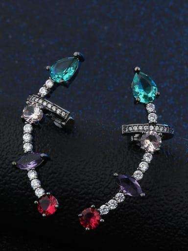 platinum Copper Glass Stone  Geometric Luxury Ear Cuff Earring