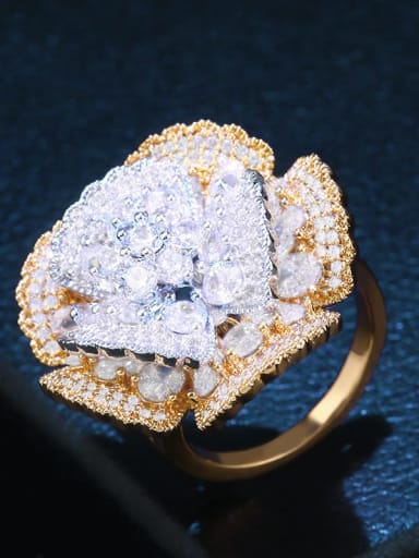 golden Brass Cubic Zirconia Flower Luxury Band Ring