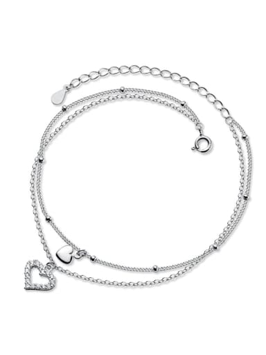 925 Sterling Silver Cubic Zirconia Heart Minimalist  Anklet