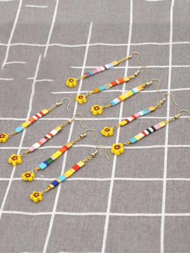 Stainless steel Multi Color TIla Bead Geometric Bohemia Hook Earring