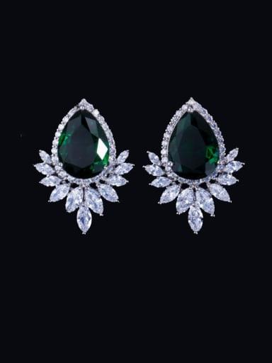 green Brass Cubic Zirconia Water Drop Luxury Cluster Earring