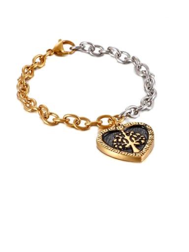 gold Stainless Steel Black Enamel Heart Vintage Link Bracelet