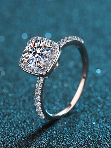 Sterling Silver Moissanite White Square Dainty Engagement Rings