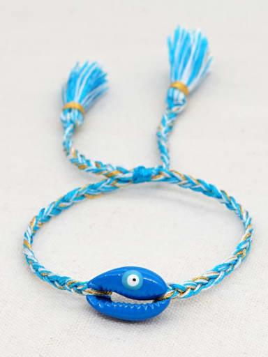 B B200060B Multi Color Polymer Clay Irregular Bohemia Handmade Weave Bracelet