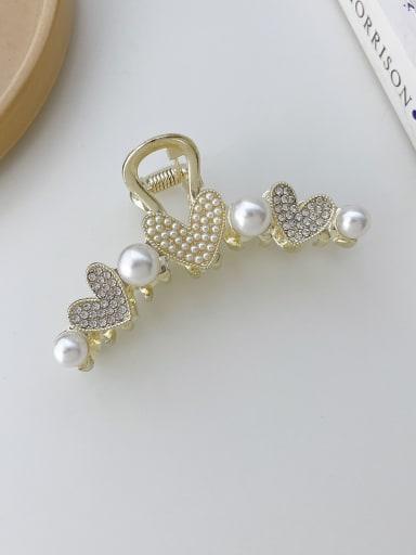 Love Pearl Rhinestone 8cm Alloy Imitation Pearl Trend Heart Jaw Hair Claw