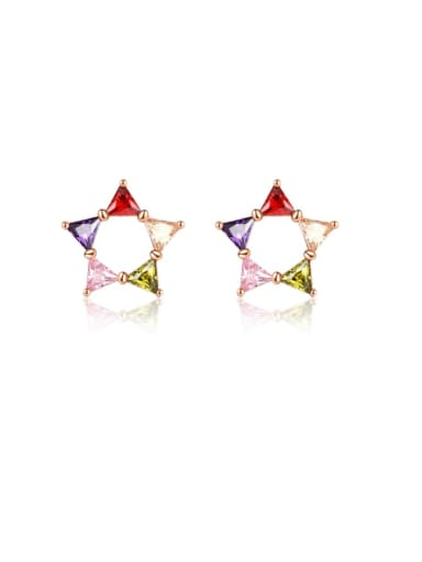 Brass Cubic Zirconia Multi Color Geometric Minimalist Stud Earring