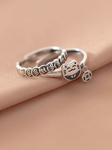 925 Sterling Silver Cat Vintage Band Ring