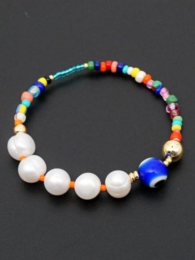ZZ B200034C Freshwater Pearl Multi Color Miyuki beads Evil Eye Bohemia Stretch Bracelet