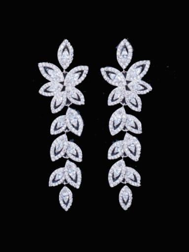 Brass Cubic Zirconia Leaf Luxury Cluster Earring