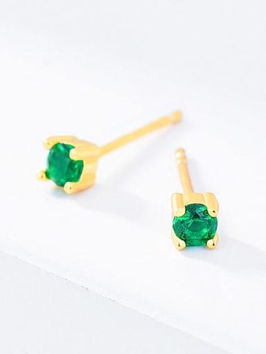 Green glass 925 Sterling Silver Cubic Zirconia Round Minimalist Stud Earring