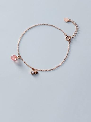 925 Sterling Silver Garnet Round Minimalist Bracelet