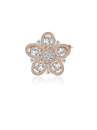 Copper Cubic Zirconia Flower Luxury Brooch
