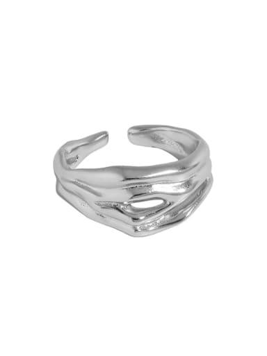 White gold [No. 13 adjustable] 925 Sterling Silver Irregular Vintage Band Ring