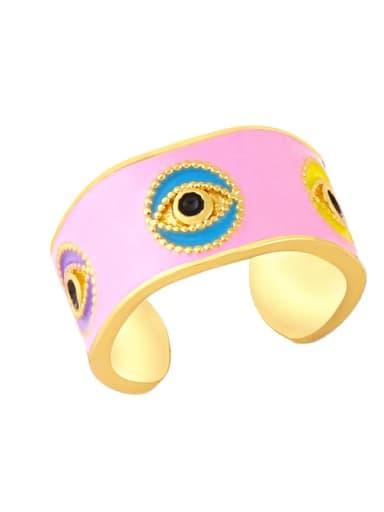 Pink Brass Enamel Hip Hop Band Ring