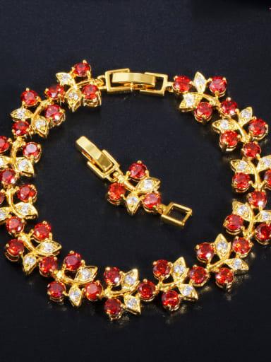 gules Copper Cubic Zirconia Leaf Luxury Bracelet