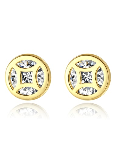 925 Sterling Silver Cubic Zirconia Round Dainty Stud Earring