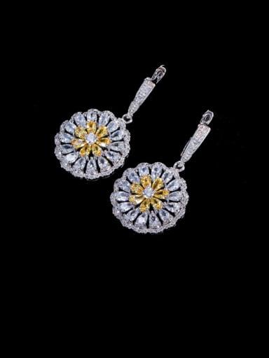 yellow Brass Cubic Zirconia Geometric Luxury Cluster Earring