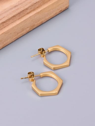Titanium Hexagon Minimalist Stud Earring