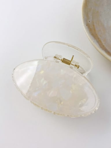 Colorful white 7cm Cellulose Acetate Minimalist Oval Alloy Multi Color Jaw Hair Claw