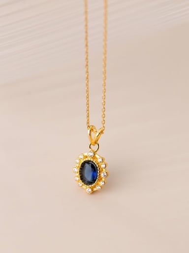 Gold 925 Sterling Silver Cubic Zirconia Oval Vintage Necklace