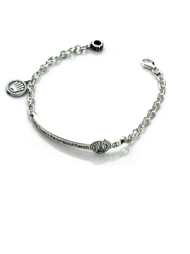 Vintage Sterling Silver With Simple Retro Geometry Multi-Layer Chain Bracelets