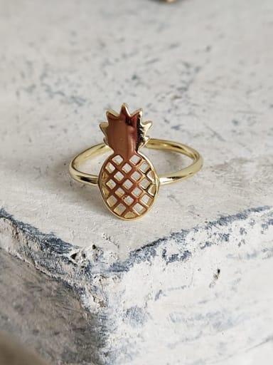 J 590 pineapple ring 925 Sterling Silver Hollow Irregular Cute Midi Ring