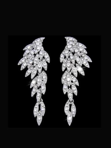 white Alloy Cubic Zirconia Wing Hip Hop Drop Earring