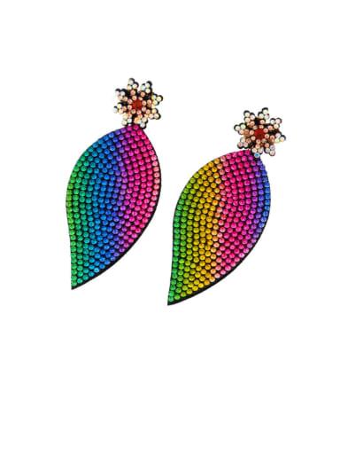 A Brass Cubic Zirconia Leaf Hip Hop Cluster Earring