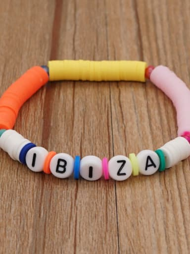 QT B200011I Stainless steel Multi Color Polymer Clay Letter Bohemia Stretch Bracelet