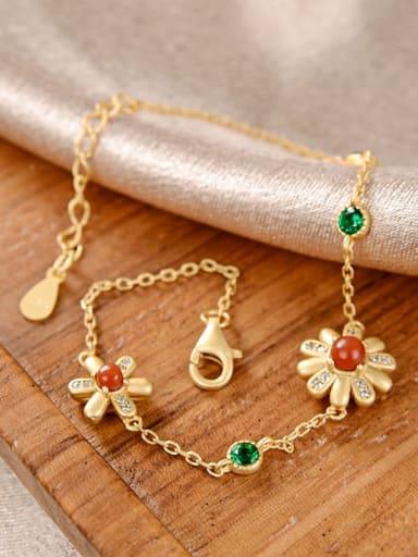 South Red 925 Sterling Silver Carnelian Flower Vintage Link Bracelet