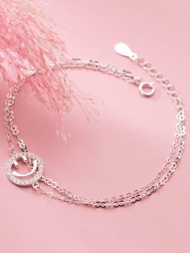925 Sterling Silver Cubic Zirconia Smiley Minimalist Strand Bracelet