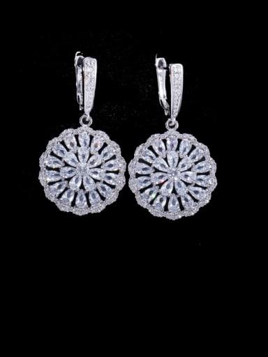 white Brass Cubic Zirconia Geometric Luxury Cluster Earring