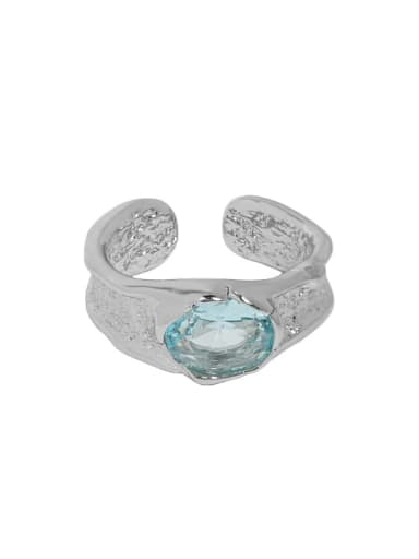 White gold [blue stone] 925 Sterling Silver Cubic Zirconia Geometric Vintage Band Ring