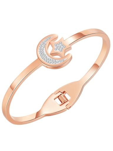 1000 Rose Gold Plated Bracelet Titanium Steel Rhinestone Star Minimalist Band Bangle