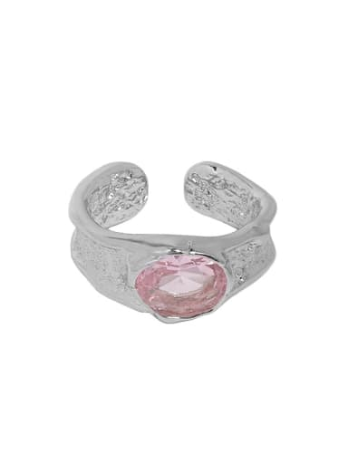 White gold [pink stone] 925 Sterling Silver Cubic Zirconia Geometric Vintage Band Ring