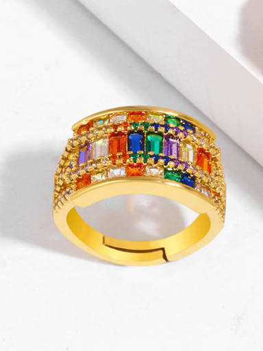 Brass Cubic Zirconia Geometric Luxury Cocktail Ring