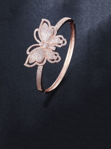 rose gold Brass Cubic Zirconia Butterfly Statement Band Bangle