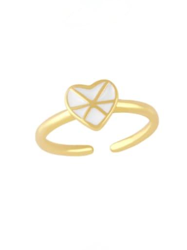 white Brass Enamel Heart Vintage Band Ring