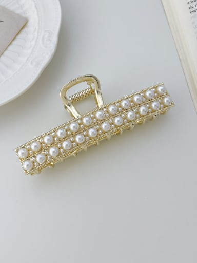 Straight line double row pearls 10cm Alloy Rhinestone Trend Geometric Jaw Hair Claw
