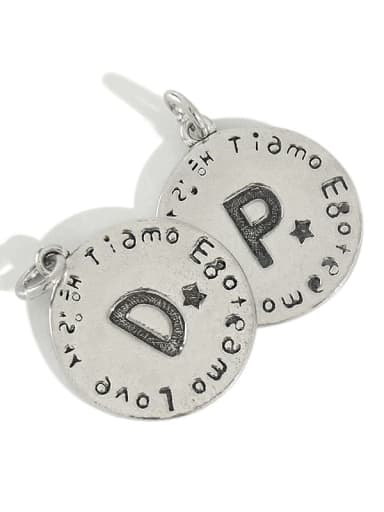 925 Sterling Silver Vintage round Letter Pendant