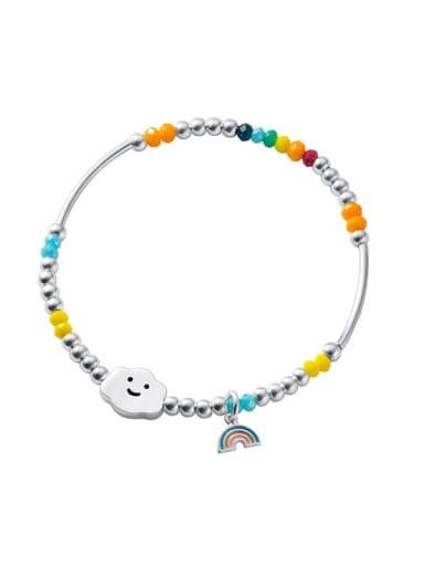 925 Sterling Silver Enamel Cloud Vintage Stretch Bracelet