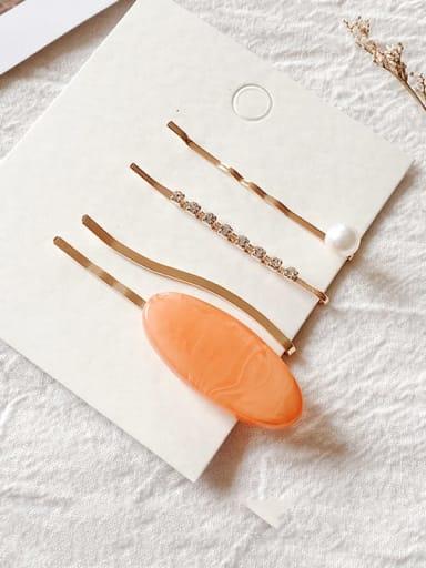 Oval yellow Cellulose Acetate Alloy  Bohemia Geometric Hair Pin