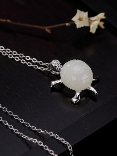 925 Sterling Silver Jade Cute Turtle   Pendant