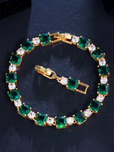 green Brass Cubic Zirconia Geometric Luxury Bracelet