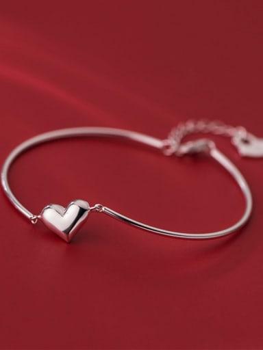 925 Sterling Silver Heart Minimalist Bracelet