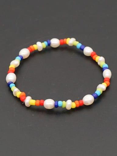 ZZ B200168A Freshwater Pearl Multi Color Round Bohemia Stretch Bracelet