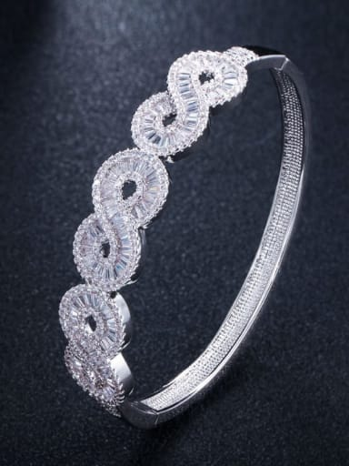 platinum Brass Cubic Zirconia Geometric Luxury Band Bangle